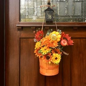 Fall wreath sunflower door basket